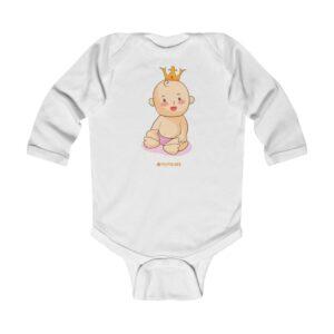 Infant Long Sleeve Bodysuit – Baby King(Vanila)