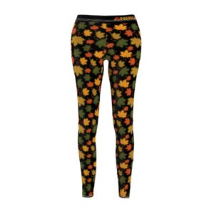 Women's Cut & Sew Casual Leggings – leaves(Black)