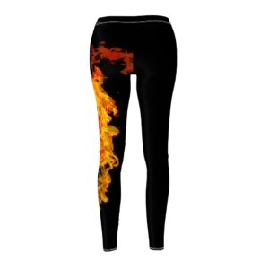 Women's Cut & Sew Casual Leggings – fire(Black)